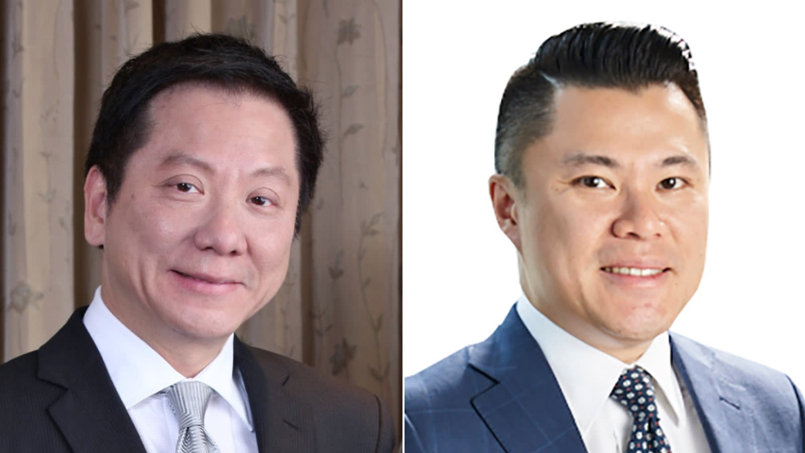 Alliance Global Group former CEO Andrew Tan, left, and new CEO Kevin Tan.