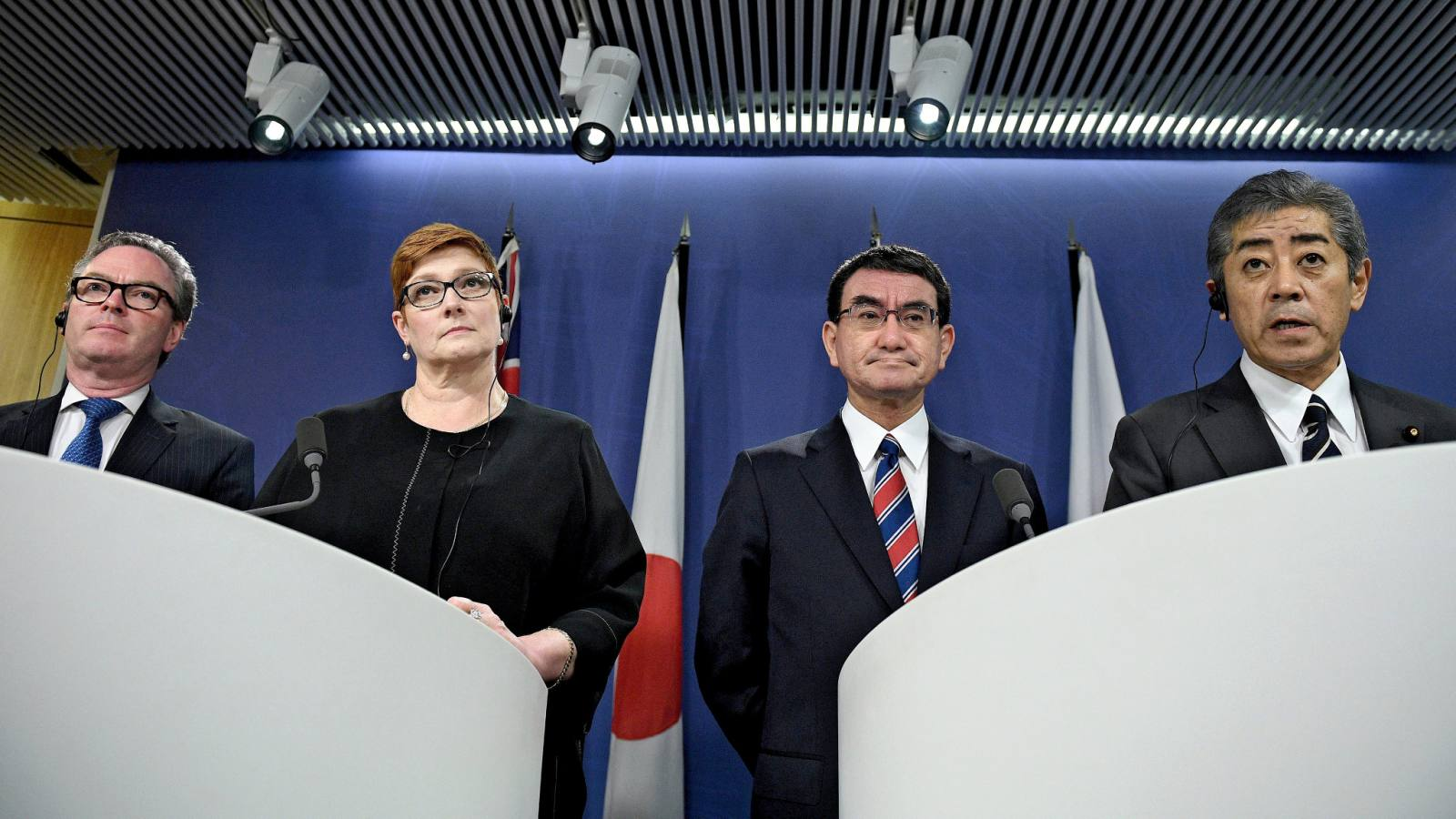 "From left, Australian Defense Minister Christopher Pyne, Foreign Minister Marise Payne, Japanese Foreign Minister Taro Kono and Defense Minister Takeshi Iwaya at their ""two-plus-two"" meeting in Sydney on Oct. 10."