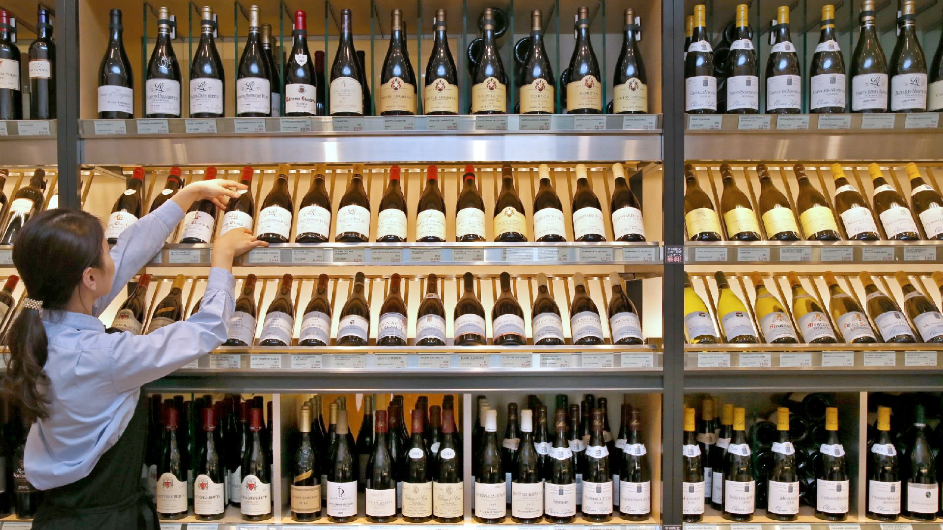 European wines on display at a Tokyo store. Wine, car parts and agricultural goods are among the products that will face lower tariffs through the Japan-EU Economic Partnership Agreement.