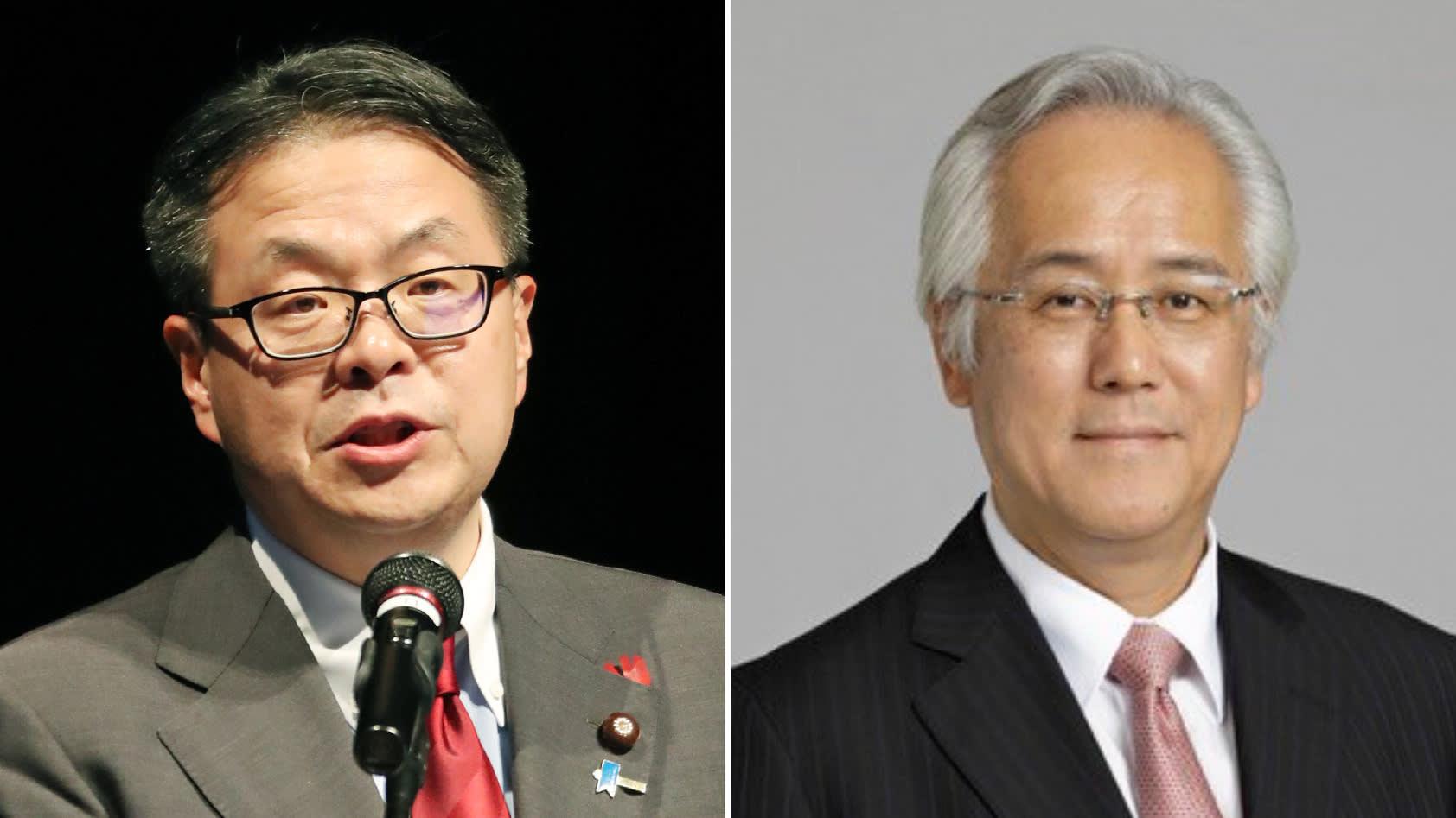 Minister of Economy, Trade and Industry Hiroshige Seko, left, andJIC President Masaaki Tanaka.