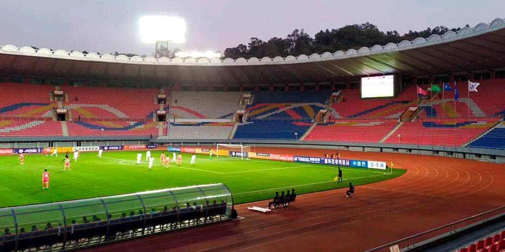 Two Koreas play out goalless draw in empty Pyongyang stadium