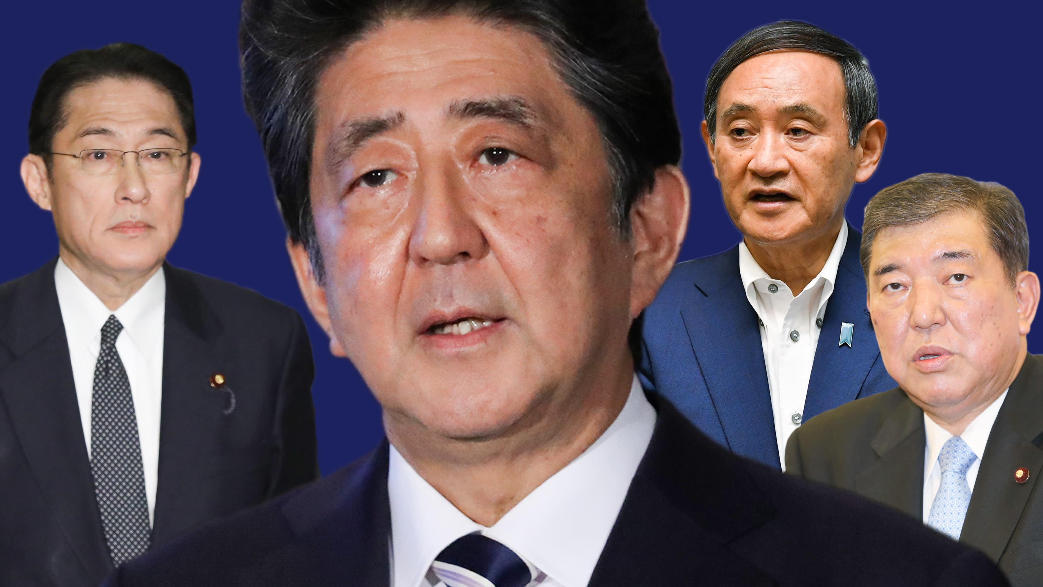 From left, former Foreign Minister Kishida, Prime Minister Abe, cabinet secretary Suga, fomer defense minister Ishiba.