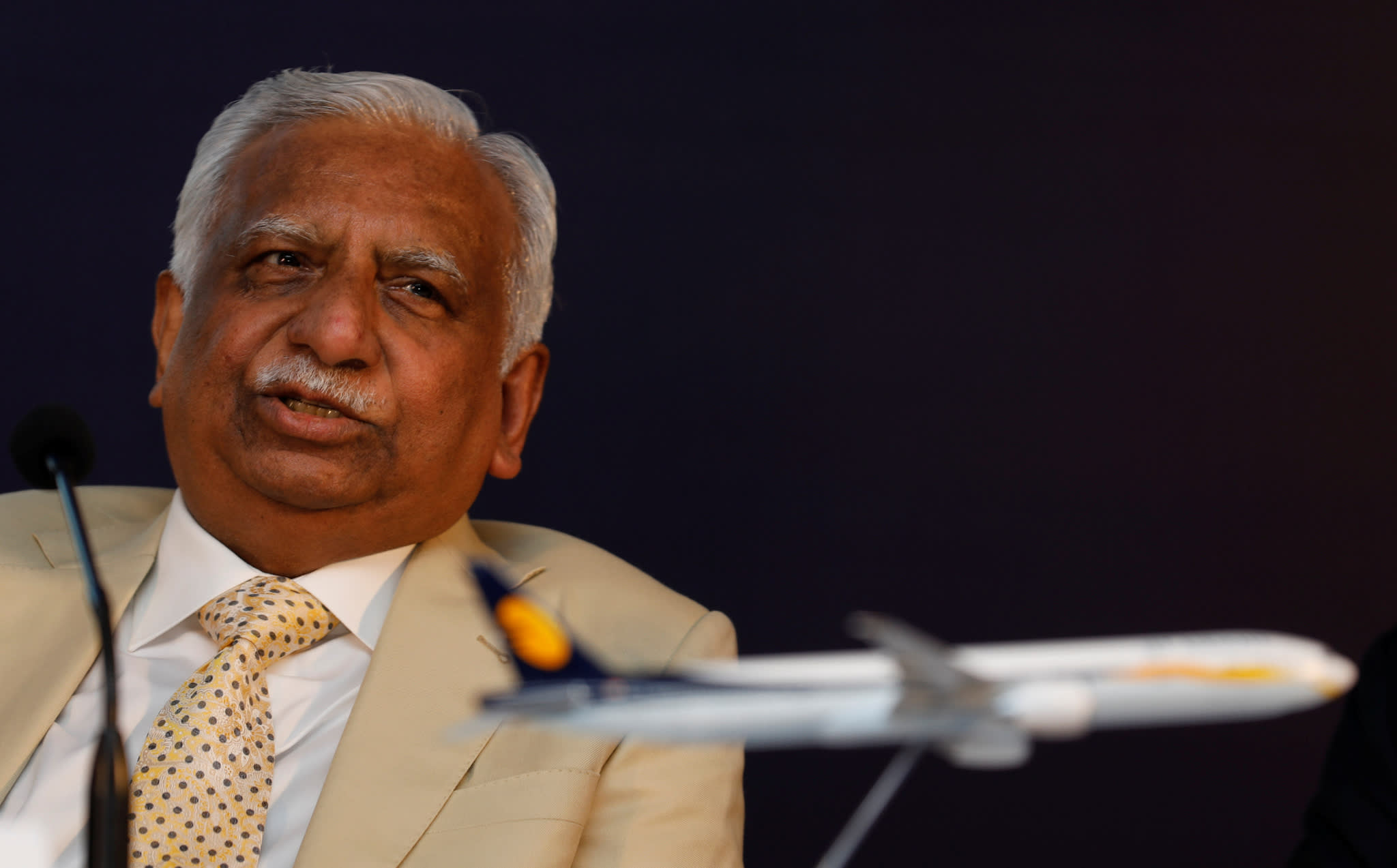 Naresh Goyal, chairman of Jet Airways, speaks during a news conference in Mumbai in November 2017.