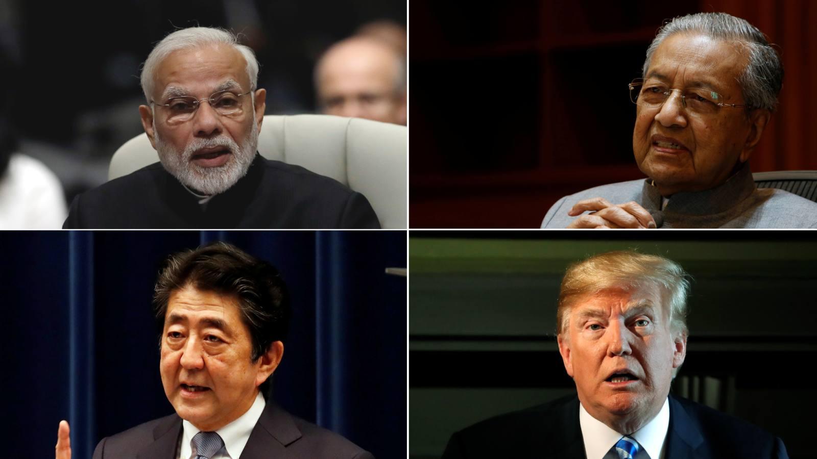 Clockwise from upper-left,Indian Prime Minister Narendra Modi,MalaysianPrime Minister Mahathir Mohamad,U.S. President Donald Trump andJapanesePrime Minister Shinzo Abe.