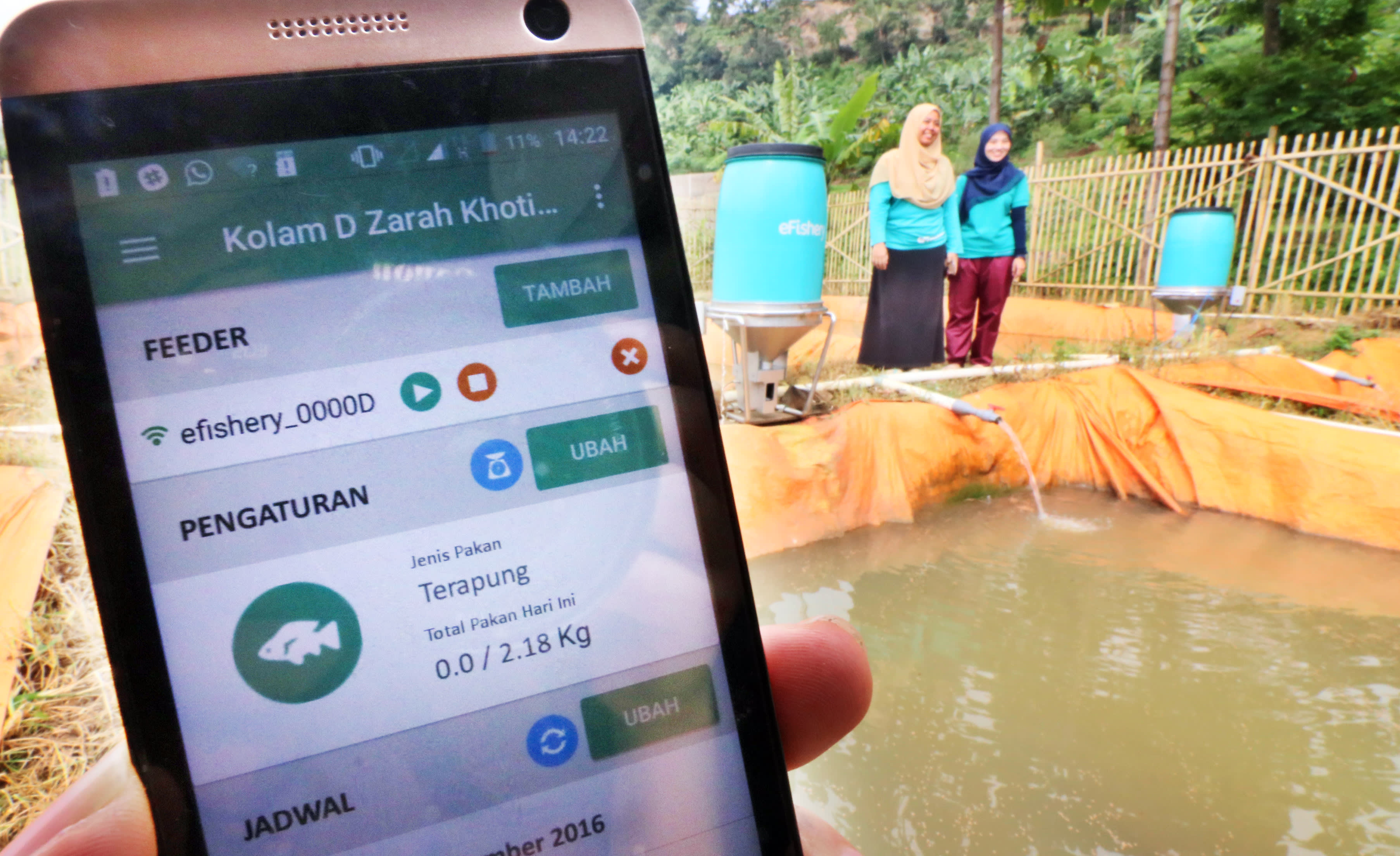 Indonesian startup eFishery allows fish farmers to control and monitor feeding through a smartphone app. Image: Shinya Sawai/Nikkei Asia Review