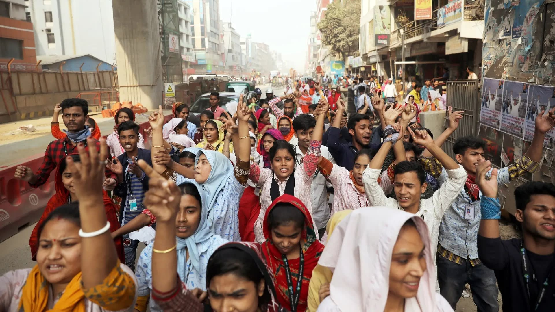 Garment factory workers took to Dhaka's streets for a fifth straight day on Thursday to protest unfair pay practices.
