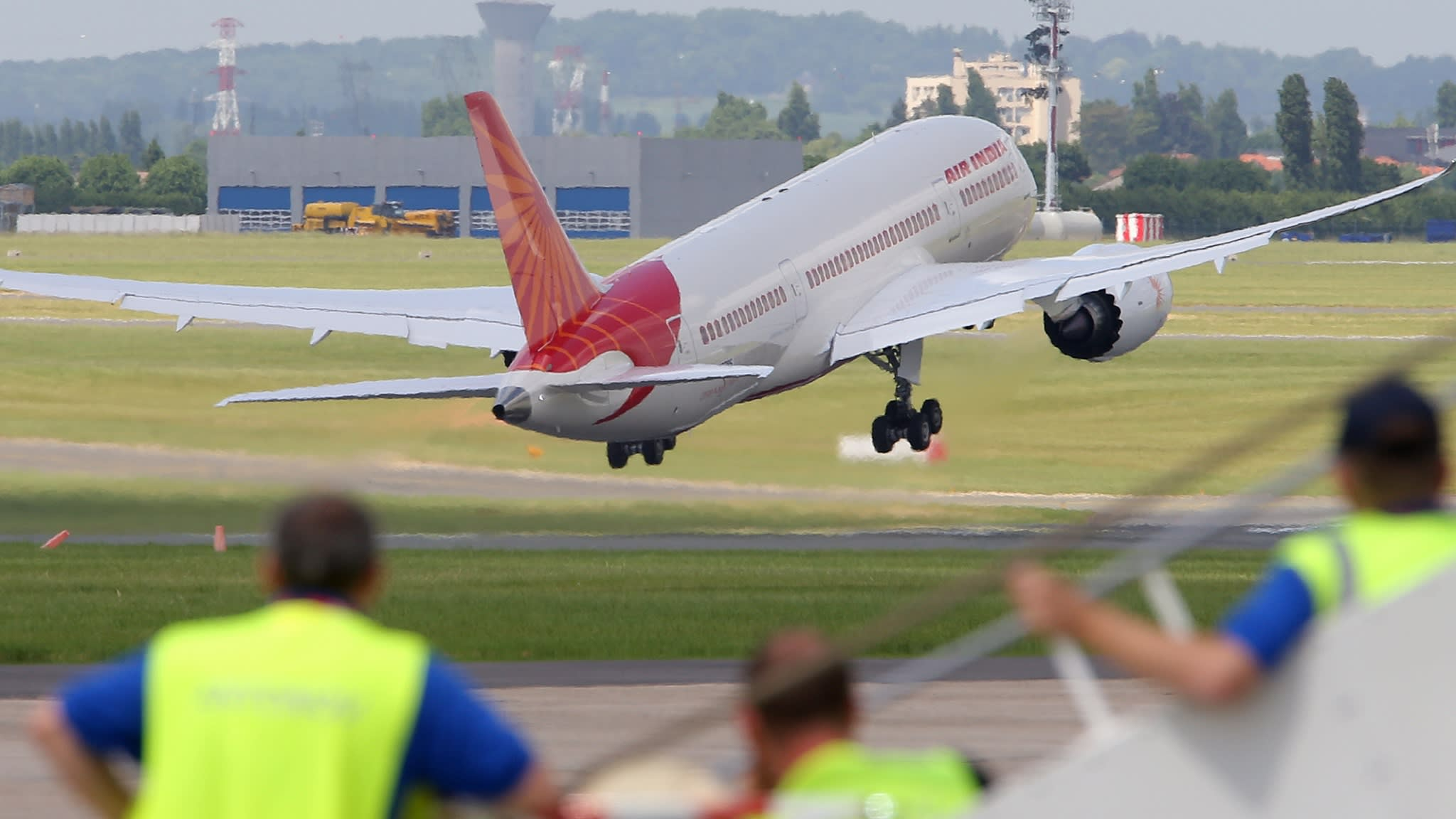 An Air India Airlines Boeing 787 dreamliner takes off.