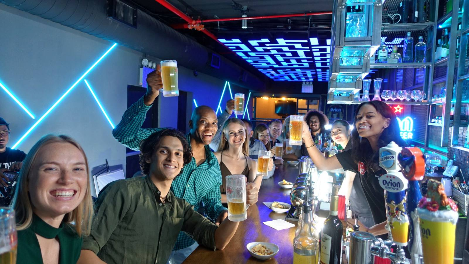 Orion films a commercial at a New York City bar. The Okinawa brewer has built up a following in the U.S., thanks in part to returning military personnel.