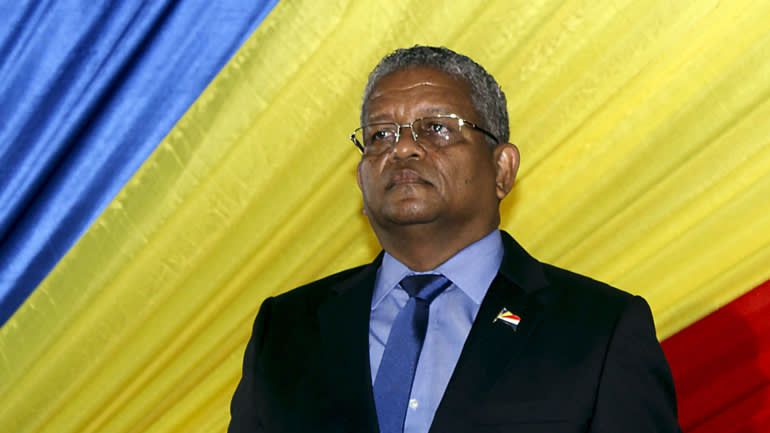 President Wavel Ramkalawan of the Seychelles athis inauguration ceremony at the State Housein the capital Victoriaon October 26.