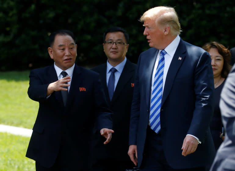Donald Trump and Kim Yong Chol