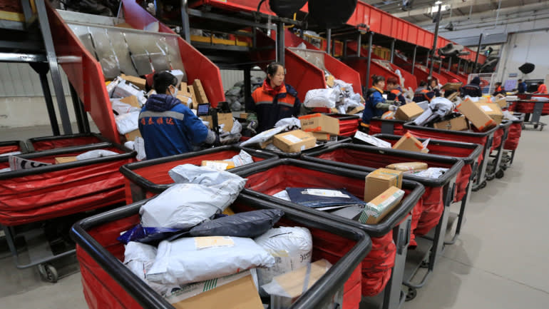 A logistics facilityof an express delivery company in Harbin, China, shortly after the Nov. 11 Singles Day online shopping festival in 2017.