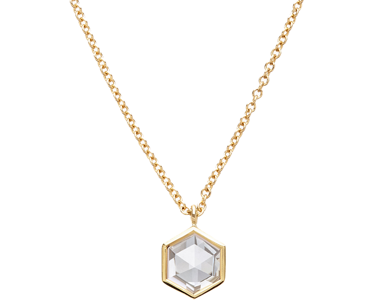 Each Diamond Foundry diamond is created in San Francisco above the ground using modern-day technology & craftsmanship. Rose-Cut Hex necklace, $2,080