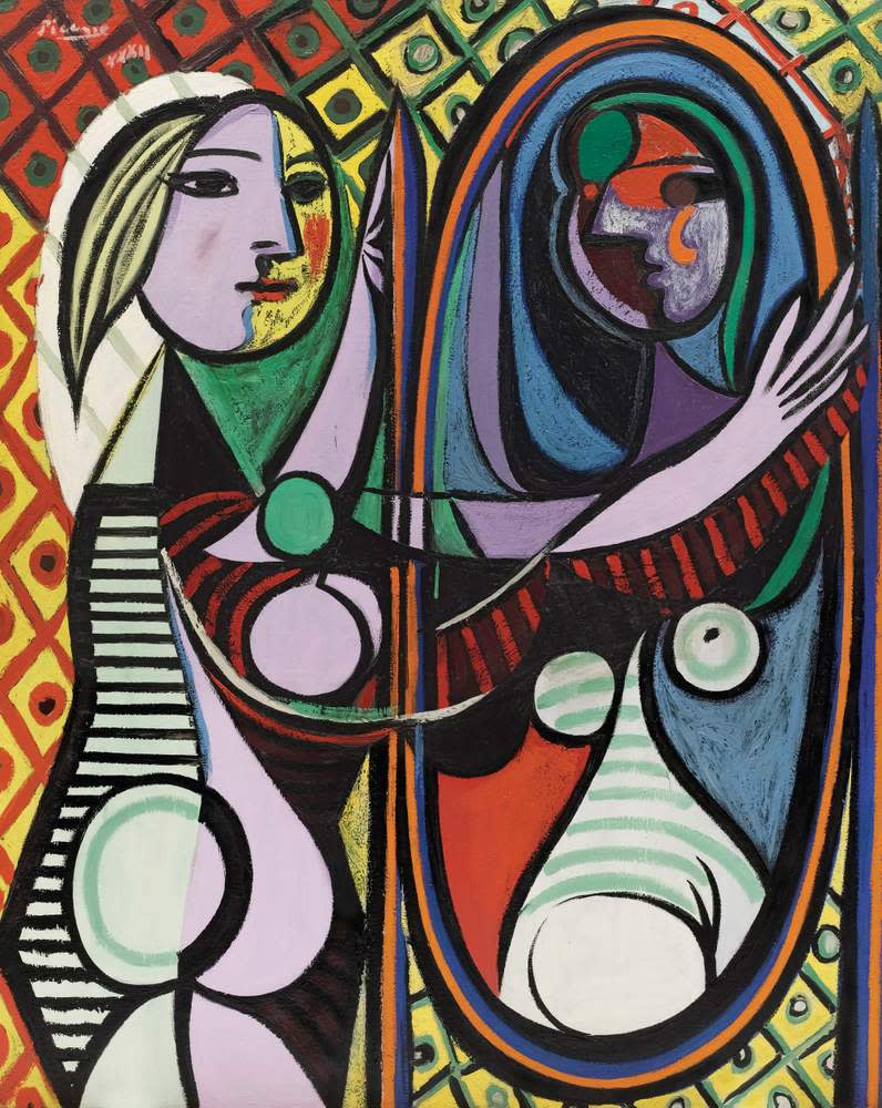 Pablo Picasso's Girl Before a Mirror (Boisgeloup, March 1932). New York, Museum of Modern Art ©Succession Picasso\/DACS, London 2018. On show in 'Picasso 1932 – Love, Fame, Tragedy' at Tate Modern, London, until 9 September
