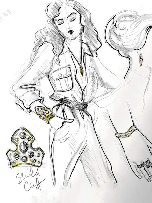 Top's sketch for the La Dame du Lac collection