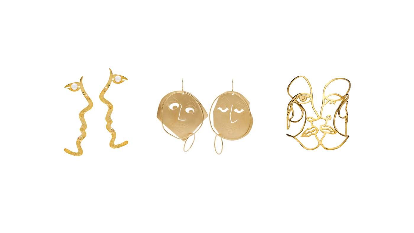 Anissa Kermiche x Rejina Pyo 'Grande Tête-à-Tête' earrings, £260. JW Anderson gold 'Moon Face' earrings, £365. Paola Vilas 'Klee' bracelet, £416
