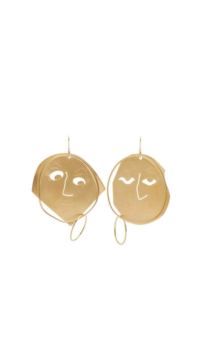 JW Anderson gold 'Moon Face' earrings, £365