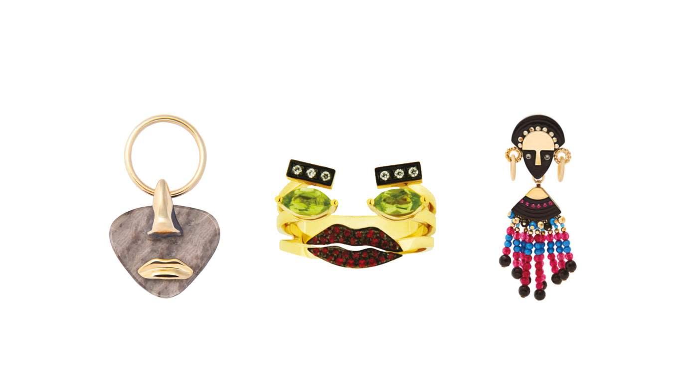 Paola Vilas Breton earrings in granite, £416. Delfina Delettrez 'Portrait Dots' ring, £2,208. Etro bead and crystal-embellished earrings, £528