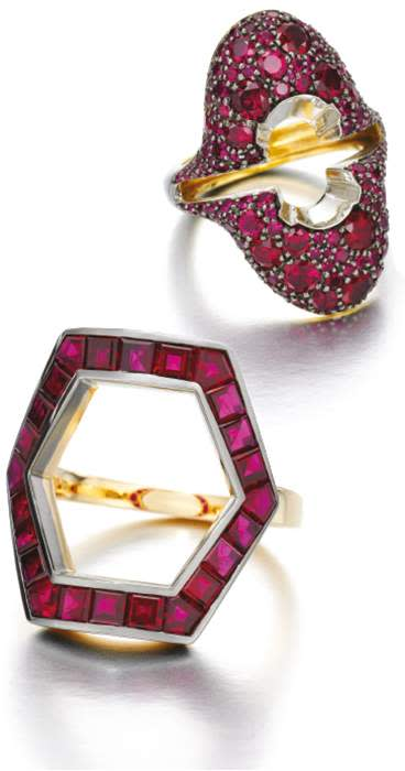 Hex Ruby ring and Oval Diamond ring with Ruby Party Jacket