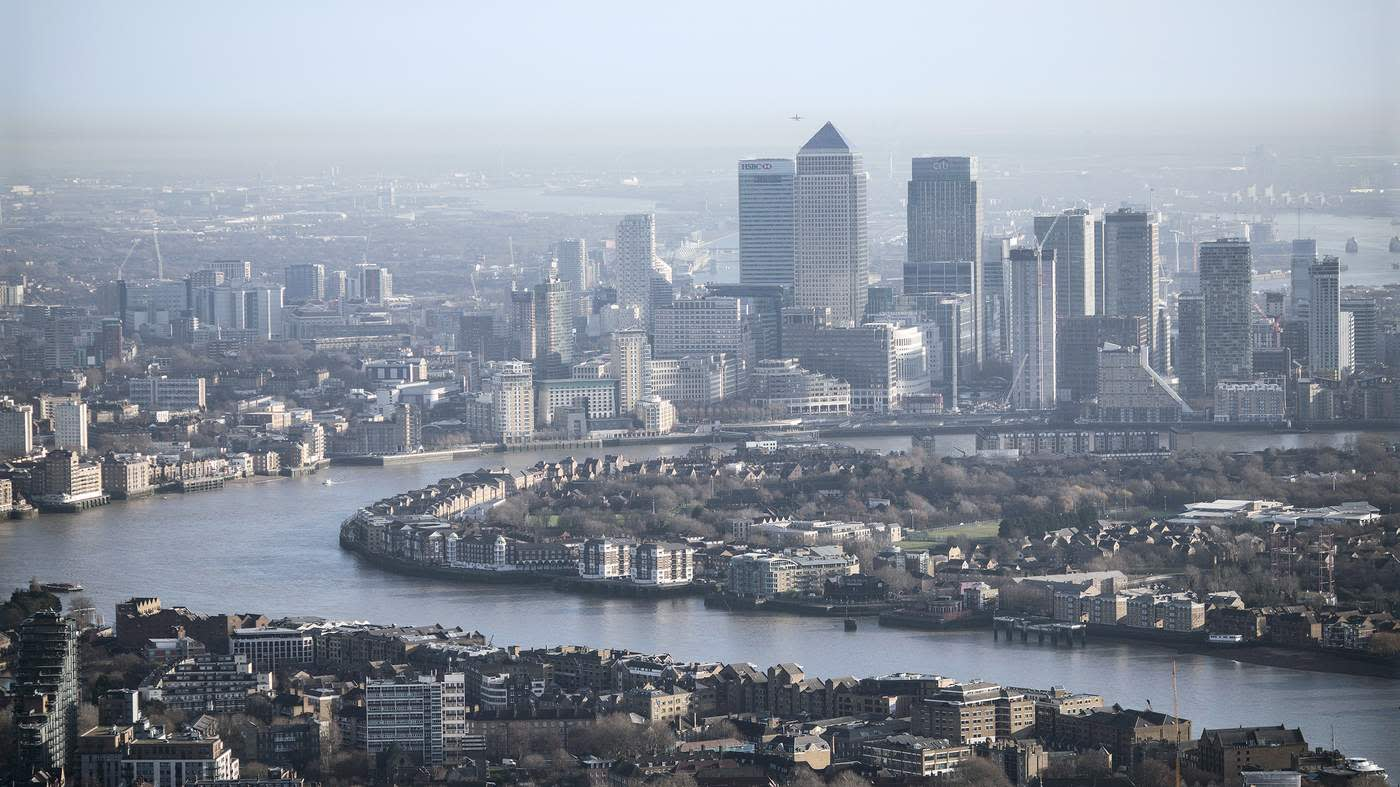 The Canary Wharf financial district as seen from the Shard