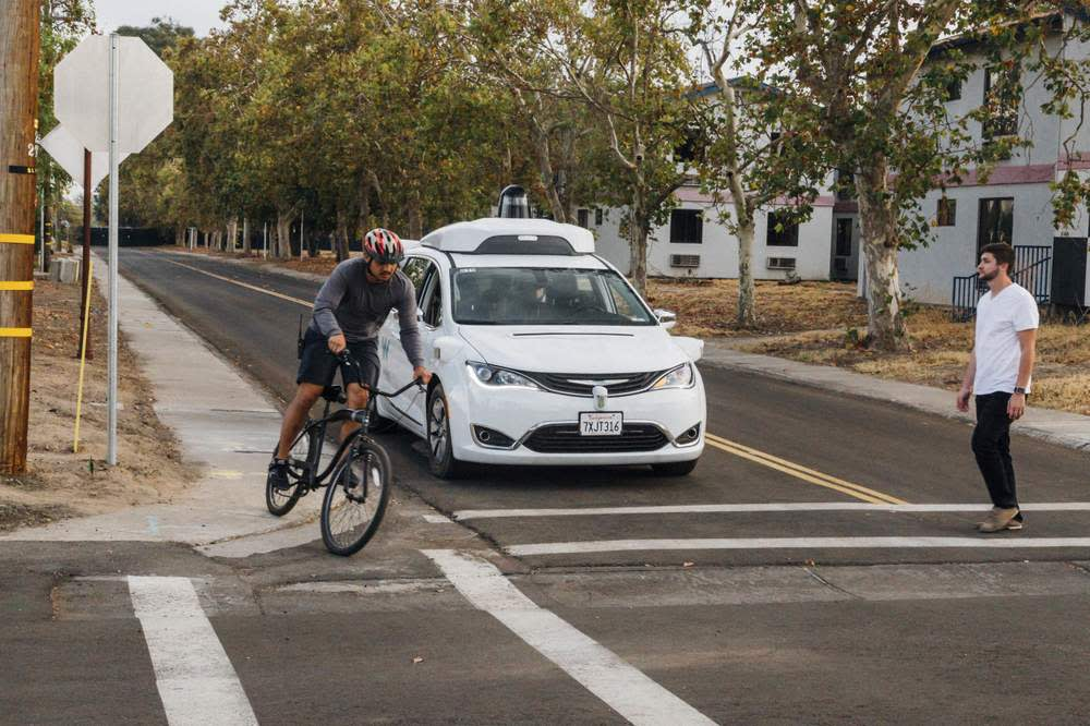 Waymo's self-driving car technology on a road test at its facility in California