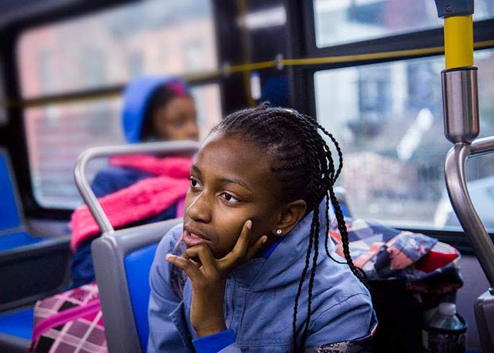 Armani and Jameeyah ride two city buses for nearly an hour to get to school