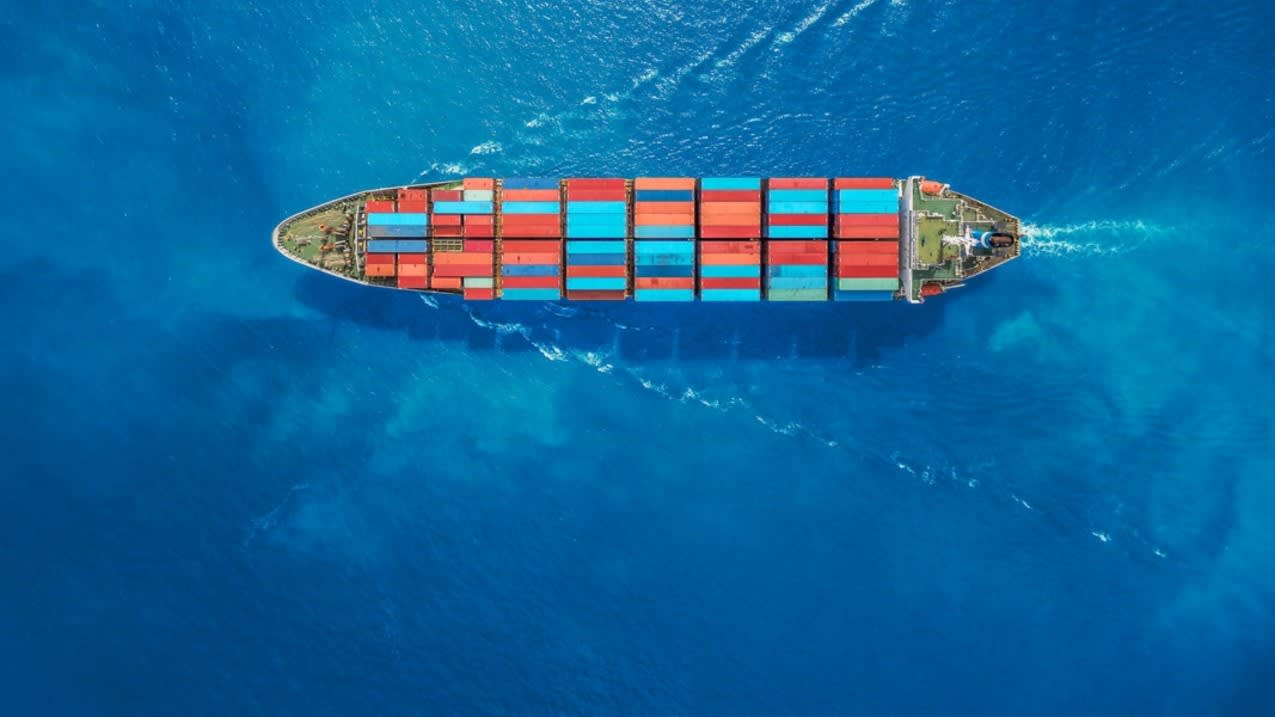 Birdseye View of Container Ship