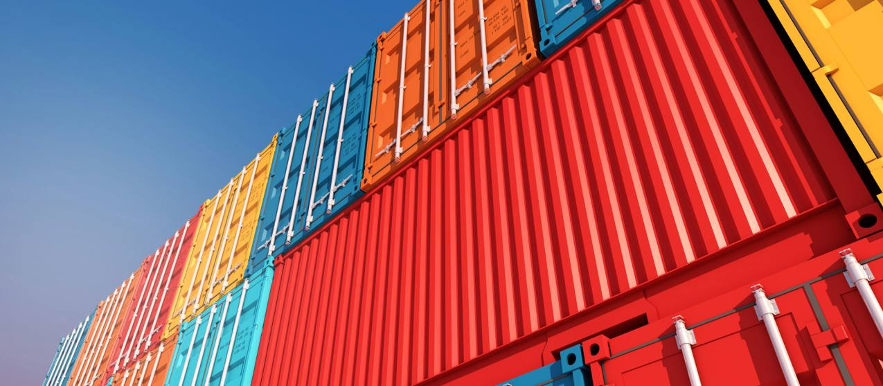 Photo looking up at containers