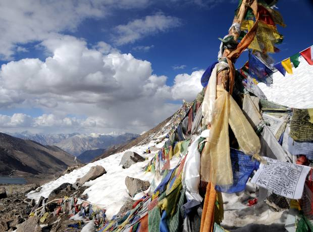 Prayer flags on the Khardung La pass in northern India