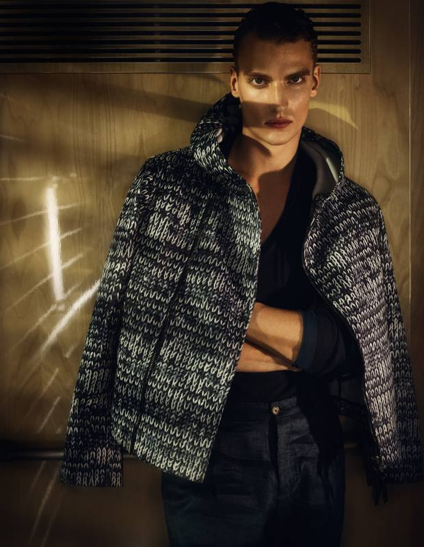 Giorgio Armani jersey jacket, £2,340, wool/silk jumper, £955, and wool trousers, £390