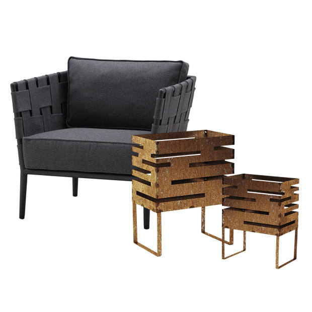 From left: Cane-Line aluminium and SoftTouch Conic lounge chair, from £1,570, and iron fire baskets, £190 and £320