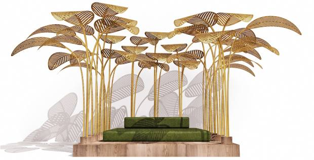 Marc Ange brass, velvet, teak, foam and outdoor fabric Le Refuge daybed, from £53,000