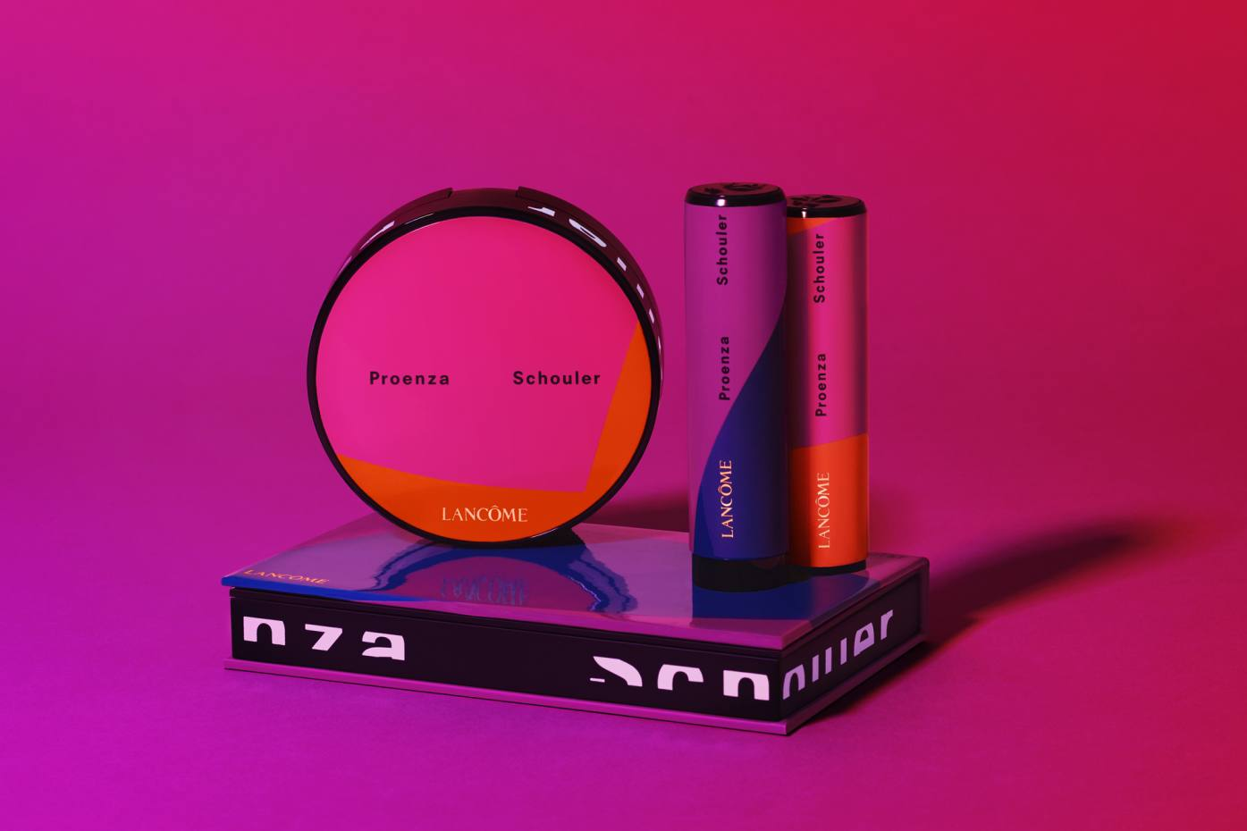 The cosmetics come in funky packaging coloured vivid shades of orange, fuchsia and electric blue