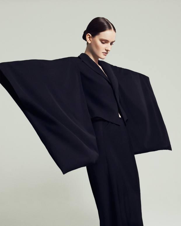 Yohji Yamamoto wool kimono, £1,550, and matching skirt, £500