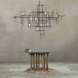 Ferro Vitro light, £28,800, with bronze and glass Forest Canopy table, £57,000