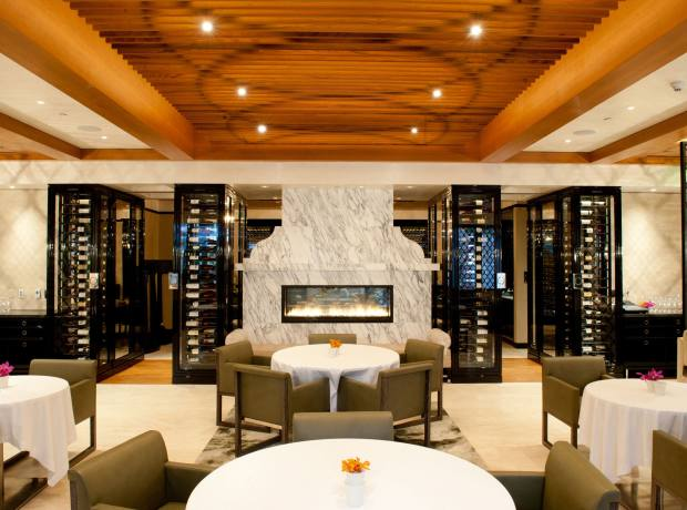 The interior of Wolfgang Puck at Hotel Bel-Air restaurant.