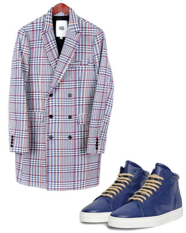 "BraveGentleMan ""future wool/silk"" recycled polycotton/polyester coat, $599. Yatay recycled polyester/polymer Neven high-top sneakers, £260"