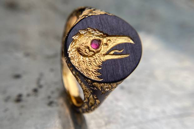 Smith's gold and ruby Tower Of signet ring