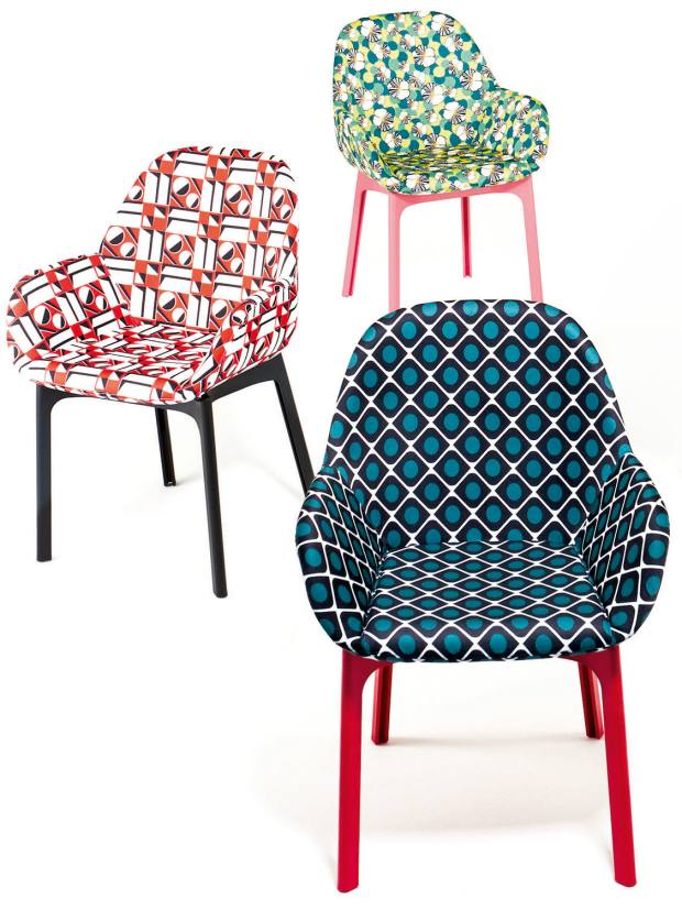 Kartell fabric and plastic Clap chairs, £447 each