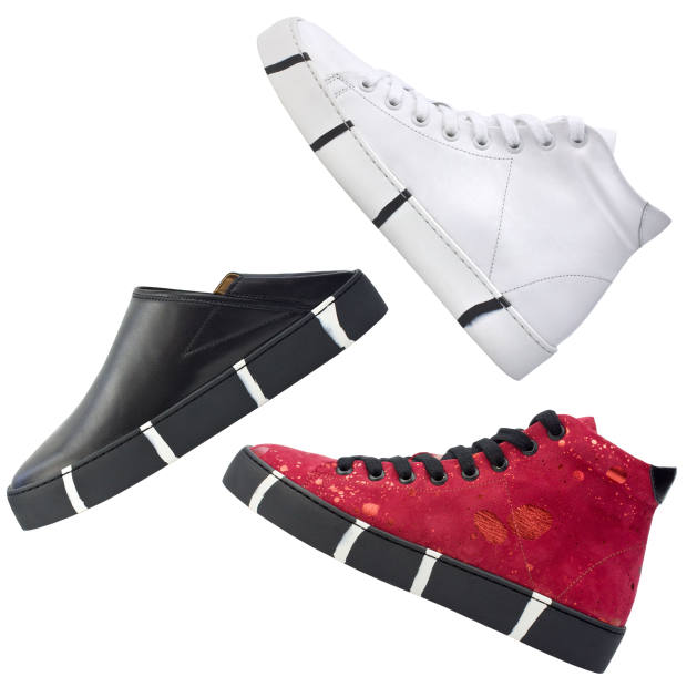 The collection (from £165) comes in three different styles: an eight-hole high-top, a five-hole low-top and a babouche-meets-skater shoe with fold-down heel