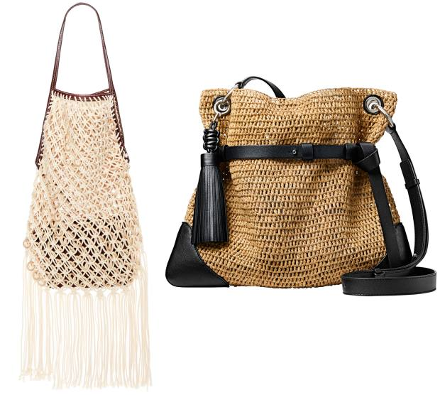 JW Anderson straw and leather bag, £1,570. Michael Kors raffia and leather Sedona Messenger bag, £620