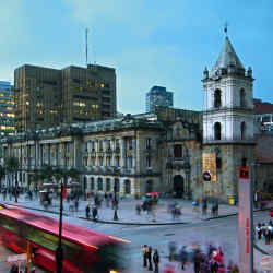 Central Bogotá and the TransMilenio bus stop.
