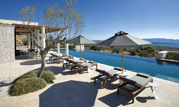 The 25m pool at Aman's Amanzoe in the Peloponnese, which has properties from €3.2m