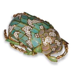 Ilgiz F gold, diamond, jade and enamel Scarab brooch, price on application