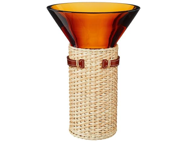 Hermès Murano glass, wicker and calfskin Delta vase, £2,370