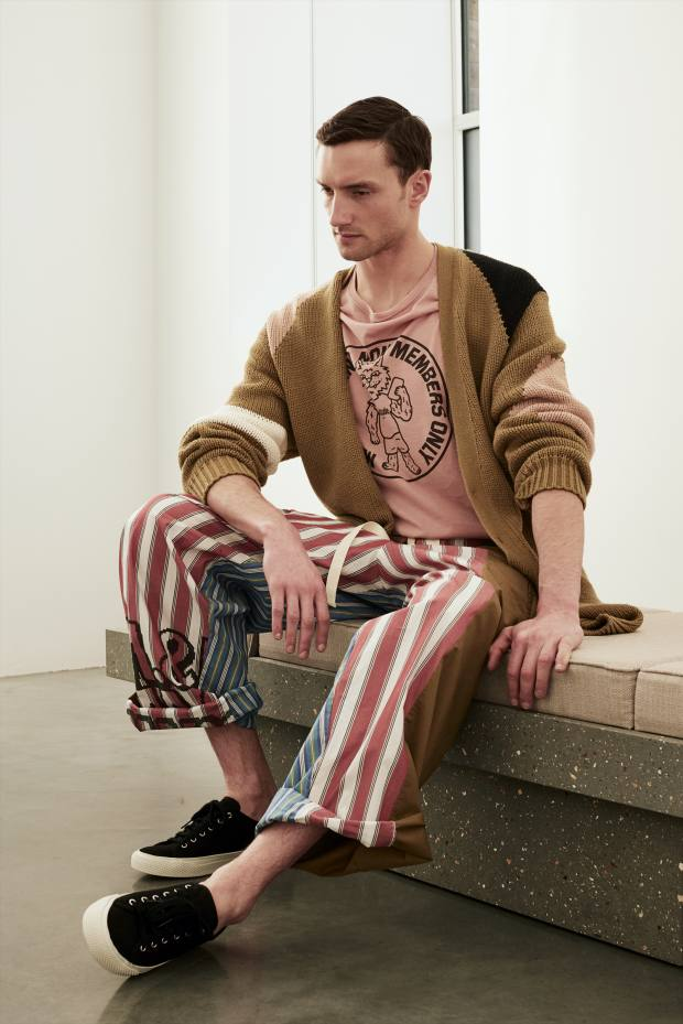 Cotton cardigan, £790, cotton shirt, £235, cotton patchwork trousers, £405, and canvas trainers, £315