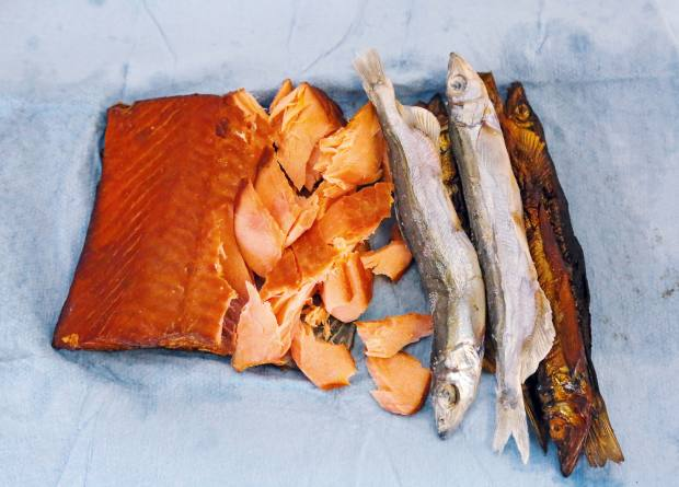The author's lunch of smoked salmon and capelin