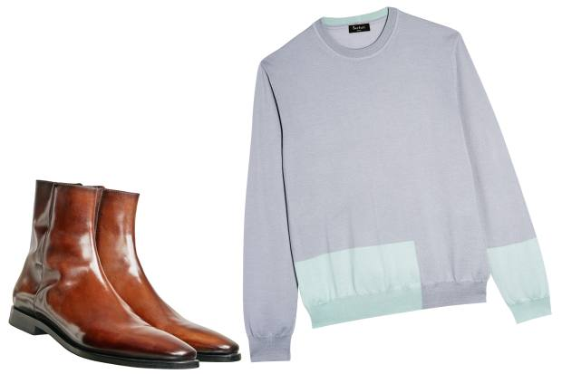 Leather Singulier Attitude ankle boots, £1,810. Silk and cashmere crewneck, £790