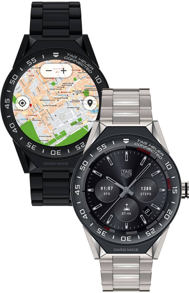 Tag Heuer ceramic Connected Modular 45 smartwatches on a titanium and a ceramic strap, from £1,200