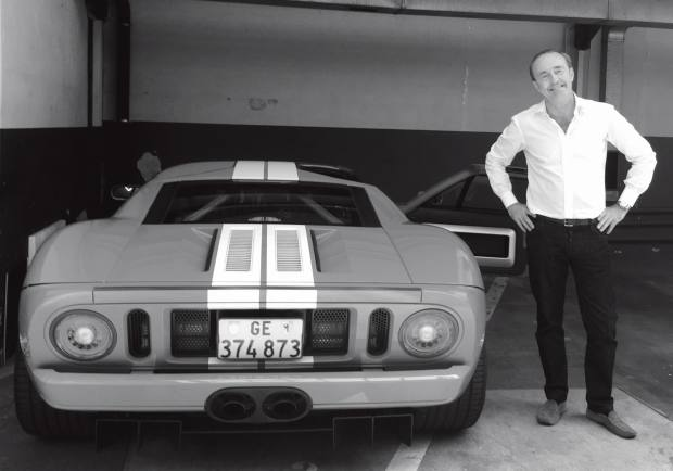 Classic car collector Daniel Spadini with his 2005 Ford GT