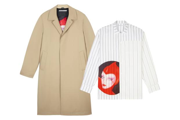 From left: Stella McCartney wool twill coat, £1,480, and cotton shirt, £380, both featuring the work of Pater Sato